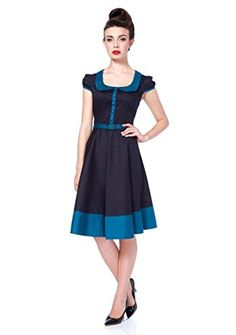 1cd09e434607 Introducing this dark blue and blue cap sleeve flare rockabilly dress by Voodoo  Vixen Apparel.