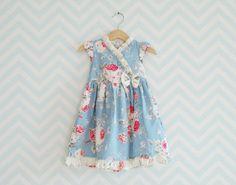 Kimono Dress for little girl, Toddler party Dress, Baby Cotton Silk dress, Blue Floral Dress for girls