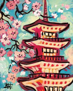 Contemporary Asian Tokyo Japan Cherry Blossom ART by wescoatart, $300.00