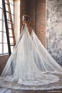 LUSAN MANDONGUS #bridal 2016 #wedding dresses lace strap low open back slim cut sheath mermaid gown musca