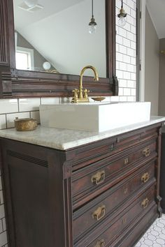Vintage Chest As Vanity. Dresser Bathroom ...