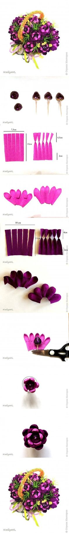 chocolate flower bouquet tutorial http://www.fabartdiy.com/diy-beautiful-chocolate-flower-bouquet/