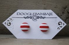 Ahoy Sailor Design- Red and White Stripes Lines Fabric Button Stud Post Earrings- Wedding - Beach Navy Nautical Summer Peppermint Candy Cane by DoogleBambaje on Etsy.com