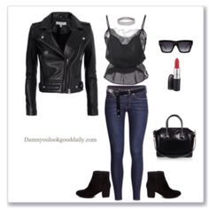 Fall Fashion, Fall Outfit Ideas, Street Style, Casual Outfits, Cute, Girl, Style, Fall Fashion Trends, Leather Jacket, Lace Top, Diamond Choker, Skinny Jeans, Ankle boots, Givenchy Bag, Mac Lipstick, Celine Sunglasses
