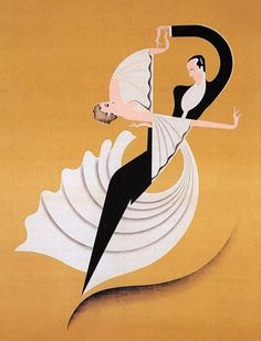 "Deco Poster ~ by Titus Livi ""de"" Madrazo Ruby et Sagan. Art Deco is a name now given to contemporary art. Deco art was a very large part of the art movement . Retro Poster, Poster Vintage, Vintage Art, Vintage Prints, Vintage Dance, Antique Art, Vintage Designs, Art Deco Illustration, Simple Illustration"