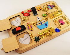 Toy for travel Travel busy board Toy for trip Toddler busy board Latch board Sensory for baby Montesori toy Baby gift Toy for boy July Toddler Gifts, Toddler Toys, Baby Toys, Kids Toys, Baby Gifts, Busy Boards For Toddlers, Kids Up, Toddler Activity Board, Toddler Activities