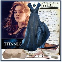 titanic :for a contest, created by azur on Polyvore...I know it's not the 40s, but it's a gorgeous dress and love those shoes.