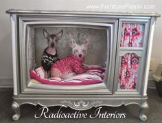 French Provincial Console TV Turned Into Luxury Dog Bed aka Dog House by Radioactive Interiors - Featured On Furniture Flippin' - www.Furnit...