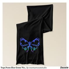 Yoga Poses Blue Green Violet Butterfly art Scarf