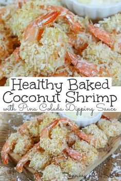 Healthy Oven Baked Coconut Shrimp - only 7 Ingredients for the crispy shrimp AND the greek yogurt based Pina Colada Dipping Sauce.  This easy recipe is the BEST Coconut Shrimp.  Tastes like copycat Red Lobster but healthier. Perfect for an appetizer or dinner. Pescatarian, Low Carb / Running in a Skirt #healthy #copycat #redlobster #shrimp Coconut Shrimp Sauce, Coconut Shrimp Recipes, Fish Recipes, Lunch Recipes, Seafood Recipes, Seafood Dishes, Healthy Baking, Healthy Dinner Recipes, Appetizer Recipes
