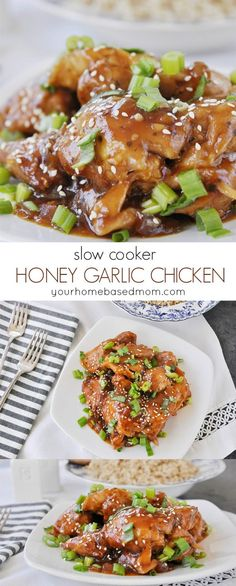 Slow Cooker Honey Garlic Chicken Recipe - This dish is the perfect way to get dinner on the table. The slow cooker makes it so easy!