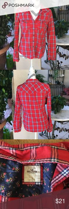 Hollister Red Plaid Button Down Hollister brand size large red plaid button down blouse. Waist is 38 inches length is 24 inches. 99% cotton 1% other fibers. In excellent condition. Hollister Tops Button Down Shirts