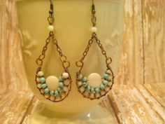 Antique Copper Turquoise and Shell Wire Wrapped by AmysTreasureBox, $28.00