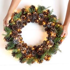 Easy & long lasting DIY pinecone wreath: beautiful as Thanksgiving & Christmas decorations & centerpieces. Great pine cone crafts for fall & winter! - A Piece of Rainbow Pine Cone Decorations, Outdoor Christmas Decorations, Christmas Centerpieces, Centerpiece Decorations, Christmas Projects, Christmas Wreaths, Christmas Crafts, Christmas Stocking, Xmas