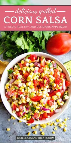 You'll become famous for this recipe when you bring it to summer parties! Grilled Corn Salsa is fresh, healthy, and delicious. All the flavors come together for an amazing appetizer that is perfect for dipping, topping, or eating by the spoonful! Add this Healthy Vegetable Recipes, Healthy Eating Recipes, Vegetable Dishes, Real Food Recipes, Healthy Food, Appetizer Salads, Easy Appetizer Recipes, Yummy Appetizers, Dinner Recipes