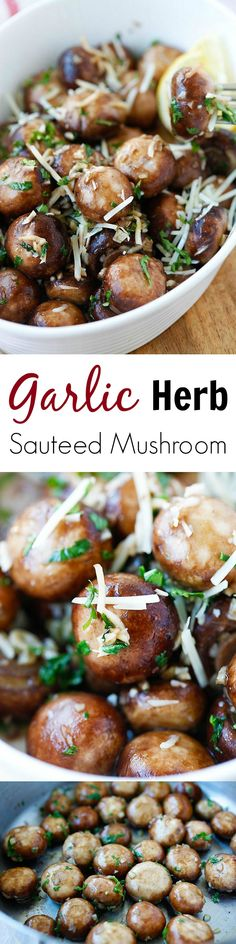 Garlic Herb Sauteed Mushrooms – best & easiest mushroom recipe that takes only 10 mins. Super delicious!! | rasamalaysia.com