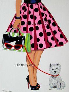 Art Print from Original Painting lady westie dog by Juliesretroart, $15.00