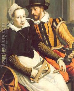 "Reproduction of ""Man and Woman by a Spinning Wheel"" 1570, a painting by Pieter Pietersz."