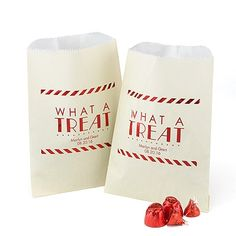"""Movie Treat Bag - Ivory Make wedding favor treats extra-fun by filling these ivory """"What A Treat"""" bags with goodies. The vintage border and red design show off your personalization."""