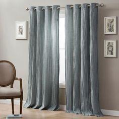 Linen Crinkle Grommet Top Window Curtain Panel