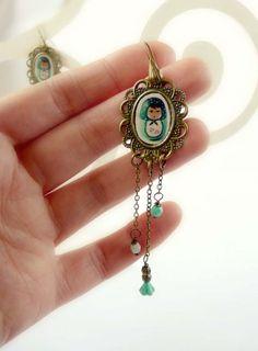 Matryoshka mint long Earring  fashion Jewelry  mamushka by zime, $20.00