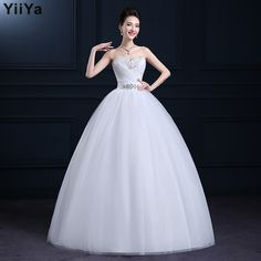 Free shipping 2015 new lace up wedding gown white fashion wedding dress frock cheap romantic bride on http://ali.pub/91ojw
