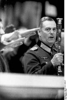 """Field Marshal Wilhelm Keitel is surprised by the photographer during the """"Heil"""" cry at a Hitler speech in Berlin in Wilhelm Keitel, Germany Ww2, Berlin Germany, Nuremberg Trials, Canadian Soldiers, Field Marshal, The Third Reich, German Army, Second World"""