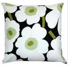 "White Black Poppy pillow cushion cover 20""  from Marimekko Pieni Unikko fabric, Maija Isola, Finland"
