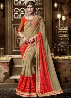 Buy Latest Beige Silk Traditional Saree, Online #sarees #royal #designersarees #ethnic