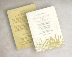 Wheat field country chic, simple wedding invitations, wedding invites www.appleberryink.com