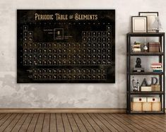 Industrial Vintage Periodic Table of Elements Sign, Modern Farmhouse Office Wall Decor, Extra Large Canvas Art Scientific Illustration Print Family Wall Decor, Office Wall Decor, Office Walls, Family Room, Industrial Wall Art, Vintage Industrial, Element Signs, Name Wall Art, Large Canvas Art