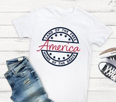 Land of the Free Home of the Brave Adult Shirt - Memorial Day Shirt - Fourth of July Shirt - Women's Shirt
