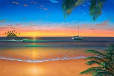 48 Stunning Photo Wall Murals Design Ideas With Seascape Theme To Have - Looking for a fun or colorful theme for your child's bedroom? Tropical island beach themes are popular and beautiful, and can offer many different dec. Palm Wallpaper, Photo Wallpaper, Beach Wall Murals, Wall Art, Caribbean Art, Romantic Beach, Sunset Colors, Seascape Paintings, Beach Paintings
