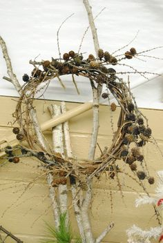 Pinecone Twig Wreath #christmas #neutral #natural