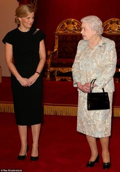 Sophie and her mother-in-law share a conspiratorial look during a reception at Buckingham Palace in February