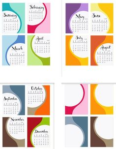 Free 2016 Calendar Cards from scrappystickyinkymess
