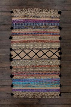 Multi/Neutral Jute & Assorted Chindi Rug with Printing & Pompoms