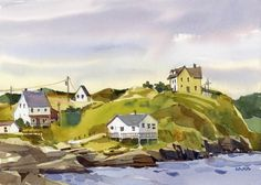 Sketch Book Blaukopf compares Canada's Newfoundland coast to Cape Ann. Above, her painting of the town of Trinity. Landscape Sketch, Watercolor Landscape, Landscape Art, Landscape Paintings, Easy Watercolor, Watercolor Sketch, Watercolor Paintings, Watercolors, Watercolor Journal