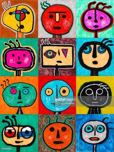 'Tribute to Mir (Omaggio a Mir), by Mario De Biasi, from the ''Faces'' series, 1999, 20th Century, drawing Private collection. Whole artwork view. The work is composed of twelve coloured squares containing fanciful faces made up of few and simple lines, that recall children's drawings; the round heads and the wide eyes lend to a sense of estrangement. (Photo by Mario De Biasi/Mondadori Portfolio via Getty Images)'