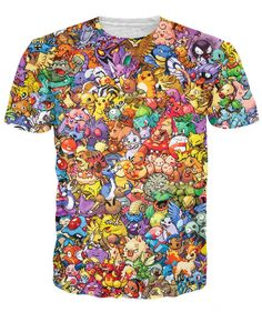 Dmart7dealWomen Men 3d tops Original 8-Bit Collage T-Shirt 90s video game and anime 3d print t shirt Characters cartoon tee Tops