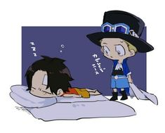 Ace and Sabo sleeping next to each other One Piece