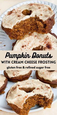 Pumpkin Donut Recipe Baked, Baked Pumpkin, Donut Recipes, Pumpkin Recipes, Free Recipes, Healthy Pumpkin, Gf Recipes, Almond Flour Desserts, Cream Cheese Desserts