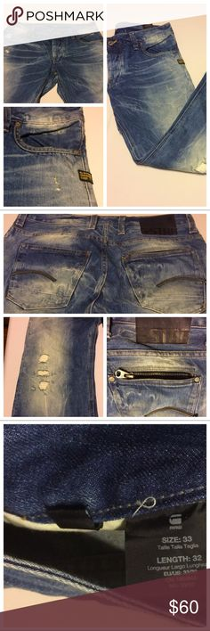 NWT Men's G Star Distressed Jeans NWOT Distressed G Star Jeans 🔆 Length 32 Waist 33 🔆 One back pocket has a zipper🔆 Reasonable offers considered🔆 G Star Raw Jeans