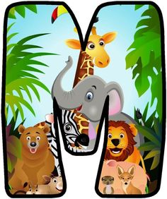 Letter M with zoo animals - Safari Photography Lion King Birthday, Jungle Theme Birthday, Jungle Party, Safari Party, Safari Theme, Safari Invitations, Scrapbook Letters, Alphabet And Numbers, Jungle Animals