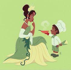 Tiana & young boy [as Tiana feat. Tiana as a doll] (Drawing by MarcianoIlustrador Disney Fan Art, Disney Pixar, Disney Nerd, Cute Disney, Disney Animation, Disney Girls, Disney Magic, Disney Movies, Walt Disney