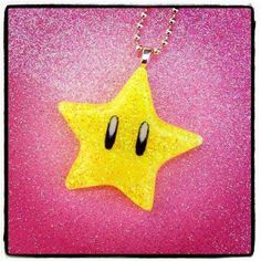 Super Mario Invincibility Star Necklace from MissFridayMourning on Etsy, $11