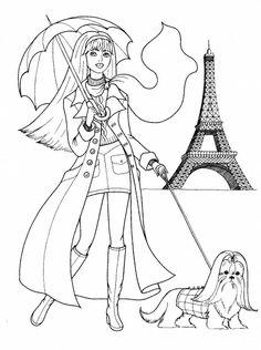 paris coloring | Woman In Paris coloring page | Super Coloring