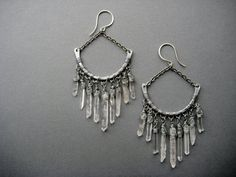 Quartz Crystal Chandelier Earrings- Raw Quartz Tribal Spike Statement Earrings- Raw Crystal Jewelry on Etsy, $67.07