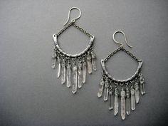Quartz Crystal Chandelier Earrings- Raw Quartz Tribal Spike Statement Earrings- Raw Crystal Jewelry on Etsy, $67.07