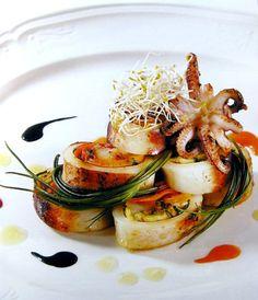calamari in padella farciti con verdure con salsa di ostriche al nero /pan-fried squid stuffed with vegetables with oyster sauce in black Chef Claudio Sadler